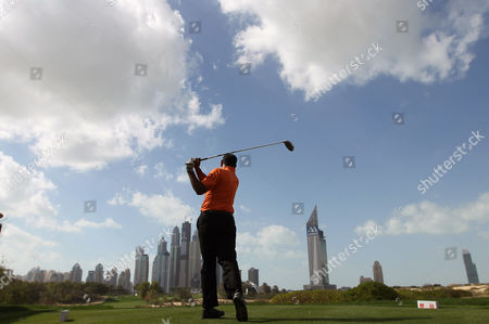 Jeev Milkha Singh of India Watches His Tee Shot During the Final Round of the Omega Dubai Desert Classic 2013 Golf Tournament at Emirates Golf Club in Dubai United Arab Emirates 03 February 2013 United Arab Emirates Dubai