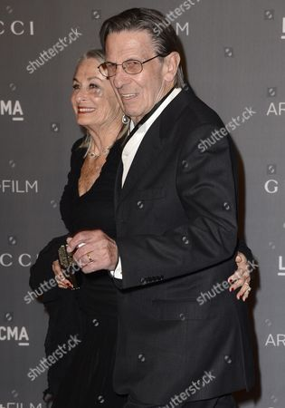 Us Actor Leonard Nimoy (r) and Wife Susan Bay (l) Arrive For the Lacma Art+film Gala at the Los Angeles County Museum of Art in Los Angeles California Usa 27 October 2012 United States Los Angeles