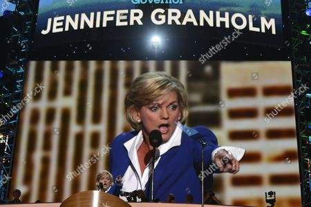 Former Governor of Michigan Jennifer Granholm Addresses Delegates at the Democratic National Convention at the Time Warner Cable Arena in Charlotte North Carolina Usa 06 September 2012 Us President Barack Obama Will Accept the Nomination to Run For a Second Term at the Convention United States Charlotte