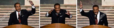 A Picture Combo Shows Congressional Black Caucus Member Emanuel Cleaver Ii Gesturing As He Addresses the Democratic National Convention in Charlotte North Carolina Usa 05 September 2012 President Barack Obama Will Be Nominated to Run For a Second Term at the Convention United States Charlotte