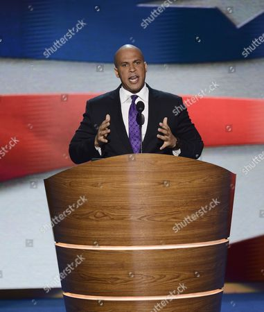Stock Image of Cory a Booker Mayor of Newark New Jersey Addresses Delegates During the First Session of the Democratic National Convention at the Time Warner Cable Arena in Charlotte North Carolina Usa 04 September 2012 Us First Lady Michelle Obama Will Be the Featured Speaker United States Charlotte