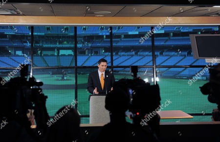 Stock Photo of Ken Jones President and Ceo of the 2012 Tampa Bay Host Committee For the Republican National Convention Describes Details of the Committee's Kick Off Event For the Republican National Convention During a Press Conference at Tropicana Field the Venue Set to Host the Event in St Petersburg Florida Usa 21 August 2012 United States St. Petersburg