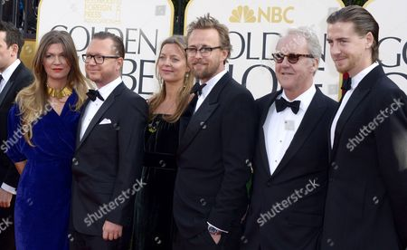 Stock Photo of Cast and Crew of Kon-tiki Directors Espen Sandberg (2-l) and Joachim Ronning (4-l) Writer Petter Skavlan (2-r) and Actor Pal Sverre Valheim Hagen (r) Arrive For the 70th Annual Golden Globe Awards Held at the Beverly Hilton Hotel in Beverly Hills Los Angeles California Usa 13 January 2013 United States Beverly Hills