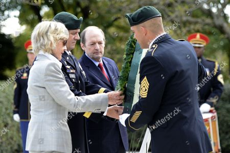 Jean Kennedy Smith (l) U S Army Special Forces Commanding General Christopher Haas (2l) and Assistant Secretary of Defense For Special Operations Michael Sheehan (3l) Place a Green Beret Wreath During the U S Army Special Forces Command (airborne) Commemorative President John F Kennedy Wreath Laying Ceremony at President Kennedy's Grave Site in Arlington National Cemetery in Arlington Virginia Usa 18 October 2012 the Event Pays Tribute to President Kennedy's Vision of Building a Dedicated Counter Insurgency Force a Vision That Helped Build the Green Berets Into the Elite Force They Have Become Over the Last Five Decades United States Arlington