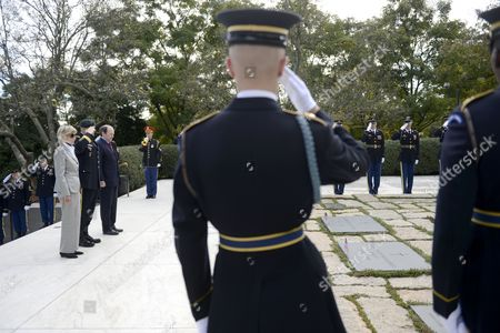 Jean Kennedy Smith (l) U S Army Special Forces Commanding General Christopher Haas (2l) and Assistant Secretary of Defense For Special Operations Michael Sheehan (3l) Listen As Taps is Played During the U S Army Special Forces Command (airborne)commemorative President John F Kennedy Wreath Laying Ceremony at President Kennedy's Grave Site in Arlington National Cemetery in Arlington Virginia Usa 18 October 2012 the Event Pays Tribute to President Kennedy's Vision of Building a Dedicated Counter Insurgency Force a Vision That Helped Build the Green Berets Into the Elite Force They Have Become Over the Last Five Decades United States Arlington