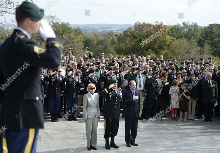 Jean Kennedy Smith (l) U S Army Special Forces Commanding General Christopher Haas (2l) and Assistant Secretary of Defense For Special Operations Michael Sheehan (3l) Listen As the National Anthem is Played During the U S Army Special Forces Command (airborne) Commemorative President John F Kennedy Wreath Laying Ceremony at President Kennedy's Grave Site in Arlington National Cemetery in Arlington Virginia Usa 18 October 2012 the Event Pays Tribute to President Kennedy's Vision of Building a Dedicated Counter Insurgency Force a Vision That Helped Build the Green Berets Into the Elite Force They Have Become Over the Last Five Decades United States Arlington