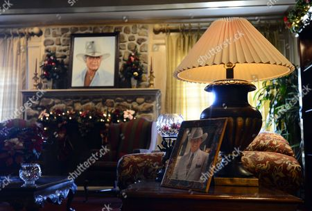 A Picture of Larry Hagman Sits in the Main Room Inside the Mansion at Southfork Ranch where the Tv Series Dallas was Based Off of and Partly Filmed in the 1970's in Parker Texas Usa 24 November 2012 Us Actor Larry Hagman Died at the Age of 81 at Medical City Hospital in Dallas Texas Larry Hagman was Known Best For His Role As J R Ewing on the Television Series Dallas United States Parker