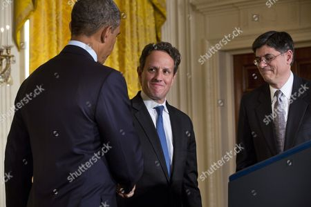 Us President Barack Obama (l) Thanks Outgoing Treasury Secretary Tim Geithner (c) For His Service and Nominates Chief of Staff Jack Lew (r) to Be Geithner's Replacement in the East Room of the White House in Washington Dc Usa 10 January 2013 United States Washington