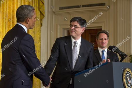 Us President Barack Obama (l) Nominates Chief of Staff Jack Lew (c) to Be the Next Secretary of the Treasury Replacing the Outgoing Timothy Geithner (r) in the East Room of the White House in Washington Dc Usa 10 January 2013 Epa/jim Lo Scalzo United States Washington