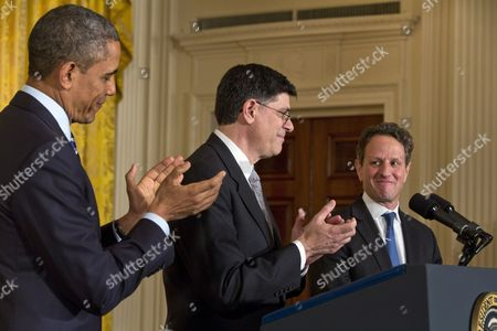 Us President Barack Obama (l) Nominates Chief of Staff Jack Lew (c) to Be the Next Secretary of the Treasury Replacing the Outgoing Timothy Geithner (r) in the East Room of the White House in Washington Dc Usa 10 January 2013 United States Washington