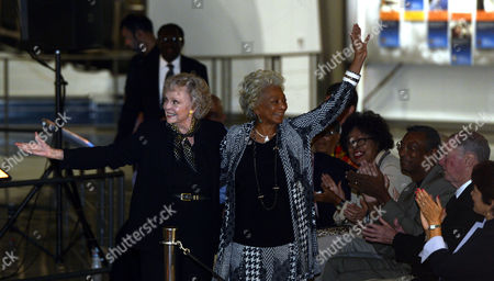 Us Actresses June Lockhart (l) From the Tv Show Lost in Space and Nichelle Nichol (r) From the Tv Show Star Trek Wave During the Inaugural Opening of Endeavour: the California Story at the California Science Center in Downtown Los Angeles California Usa 30 October 2012 the Shuttle Endeavour is 122 Feet Long with a Wingspan of 78 Feet and Flew 25 Space Missions United States Los Angeles