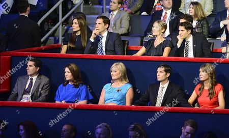 Ann Romney (c) Wife of Republican Presidential Nominee Mitt Romney Sits with Her Children at the Republican National Convention at the Tampa Bay Times Forum in Tampa Florida Usa 30 August 2012 Front (l-r) Are: Tagg Romney His Wife Jennifer Ann Josh Romney and His Wife Jen Top (l-r) Are: Laurie Romney with Husband Matt Mary and Craig Romney Mitt Romney Accepted the Nomination As the Republican Presidential Candidate United States Tampa
