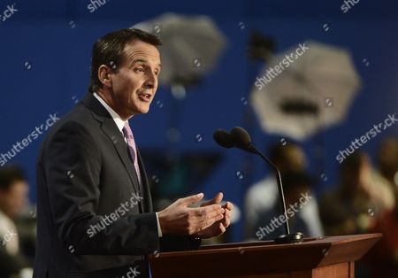 Former Minnesota Governor Tim Pawlenty Gestures During His Speech at the Third Session of the Republican National Convention at the Tampa Bay Times Forum in Tampa Florida Usa 29 August 2012 Vice Presidential Running Mate Paul Ryan Will Be the Featured Speaker For the Session United States Tampa