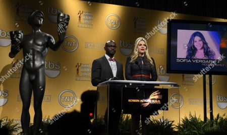 A Photo of Colombian Actress Sophia Vergara is Projected Onto a Screen As Us Actors Busy Philipps (r) and Taye Diggs (l) Announce the Screen Actors Guild Awards Nominations For Outstanding Performance by a Female Actor in a Comedy Series For Her Role in 'Modern Family' at the Pacific Design Center in West Hollywood California Usa 12 December 2012 the 19th Annual Screen Actors Guild Awards Ceremony Will Be Held on 27 January 2013 in Los Angeles Usa United States West Hollywood