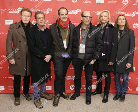 Stock Photo of (l-r) Musicians Don Henley Glenn Frey Along with Showtime's Ceo Matthew Blank Showtime President David Nevins and Musicians Joe Walsh and Timothy B Schmit of the Famous Us Rock Group 'The Eagles' Pose For the Media As They Arrive For the Premiere of the Movie 'History of the Eagles Part 1' at the 2013 Sundance Film Festival in Park City Utah Usa Late 19 January 2013 the Festival Runs From 17 to 27 January 2013 United States Park City
