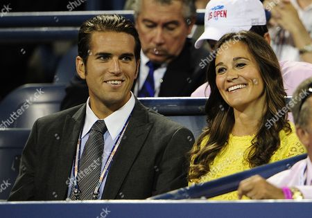 Stock Picture of Pippa Middleton Sister of Catherine Dutchess of Cambridge (r) Sits with Us Tennis Player Spencer Vegosen (l) As They Watch Andy Murray of Great Britian Play Marin Cilic of Croatia During Their Quarterfinals Round Match on the Tenth Day of the 2012 Us Open Tennis Championship at the Usta National Tennis Center in Flushing Meadows New York Usa 05 September 2012 the Us Open Runs Through Sunday 09 September 2012 United States Flushing Meadows
