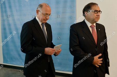 Hector Marcos Timerman (l) Foreign Minister of Argentina and Jorge Arguello (r) Argentina's Ambassador to the United States Leave a Press Conference Following a Meeting with United Nations Secretary-general Ban Ki-moon at United Nations Headquarters in New York New York Usa 22 October 2012 Timerman Held Meetings at the Un Today in Response to the Holding of the Argentinian Naval Ship the Libertad in Ghana After a New York Hedge Fund Manager Persuaded a Judge in That Country to Seize the Ship in an Effort to Force Argentina to Pay Unpaid Debts United States New York