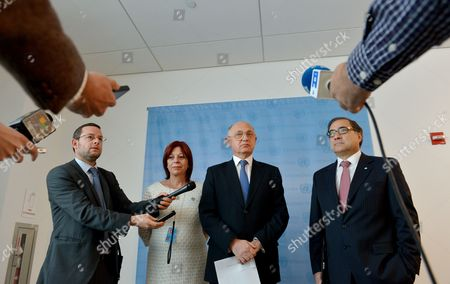 Hector Marcos Timerman (2nd R) Foreign Minister of Argentina Speaks While Standing with Jorge Arguello (r) Argentina's Ambassador to the United States and Marita Perceval (2nd L) Argentina's New Ambassador to the United Nations and an Unidentified Man During a Press Conference Following a Meeting with United Nations Secretary-general Ban Ki-moon at United Nations Headquarters in New York New York Usa 22 October 2012 Timerman Held Meetings at the Un Today in Response to the Holding of the Argentinian Naval Ship the Libertad in Ghana After a New York Hedge Fund Manager Persuaded a Judge in That Country to Seize the Ship in an Effort to Force Argentina to Pay Unpaid Debts United States New York