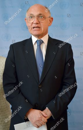 Hector Marcos Timerman Foreign Minister of Argentina Speaks During a Press Conference Following a Meeting with United Nations Secretary-general Ban Ki-moon at United Nations Headquarters in New York New York Usa 22 October 2012 Timerman Held Meetings at the Un Today in Response to the Holding of the Argentinian Naval Ship the Libertad in Ghana After a New York Hedge Fund Manager Persuaded a Judge in That Country to Seize the Ship in an Effort to Force Argentina to Pay Unpaid Debts United States New York
