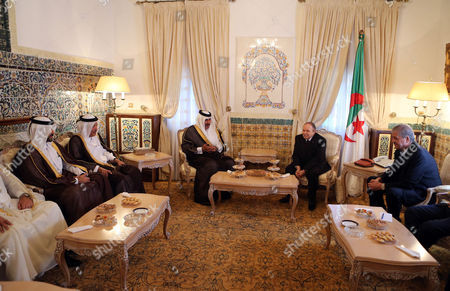 Algerian President Abdelaziz Bouteflika (2-r) Meets with the Qatari Prime Minister and Minister of Foreign Affairs Sheikh Hamad Bin Jassim Bin Jabr Al-thani (3-r) at Djenane El-mufti Residence in Algiers Algeria 11 September 2012 the Qatari Prime Minister Arrived in Algiers For a One-day Visit Algeria Algiers