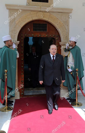 Algerian President Abdelaziz Bouteflika Leaves After His Meeting with the Qatari Prime Minister and Minister of Foreign Affairs Sheikh Hamad Bin Jassim Bin Jabr Al-thani (not Pictured) at Djenane El-mufti Residence in Algiers Algeria 11 September 2012 the Qatari Prime Minister Arrived in Algiers For a One-day Visit Algeria Algiers