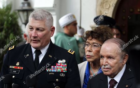 Algerian President Abdelaziz Bouteflika (r) and Us General Carter F Ham (l) Commander of Us Africa Command (africom) Speak to Media Following Their Meeting at Djenane El-mufti Residence in Algiers Algeria 30 September 2012 According to Media Reports the Visit is Part of Regular Consultations Between the Us and Algeria and Ahead of the Strategic Dialogue Scheduled For 19 October in Washington Algeria Algiers