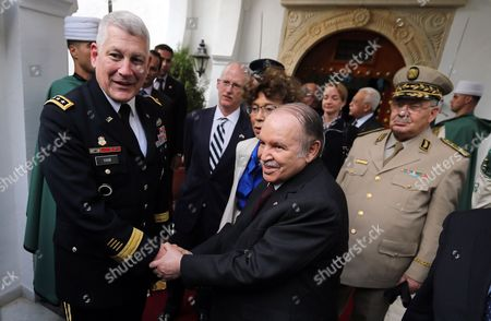 Stock Picture of Algerian President Abdelaziz Bouteflika (2-l) Shakes Hands with Us General Carter F Ham (l) Commander of Us Africa Command (africom) Following Their Meeting at Djenane El-mufti Residence in Algiers Algeria 30 September 2012 According to Media Reports the Visit is Part of Regular Consultations Between the Us and Algeria and Ahead of the Strategic Dialogue Scheduled For 19 October in Washington Algeria Algiers