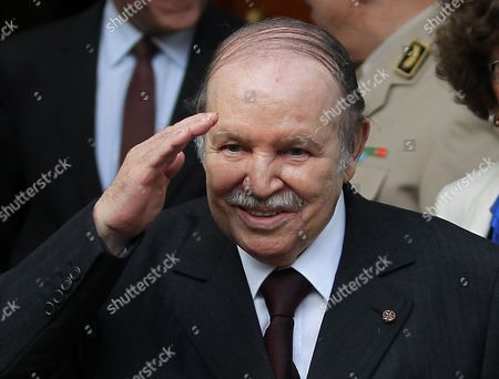 Algerian President Abdelaziz Bouteflika Gestures After Meeting with Commander of Us Africa Command (africom) Us General Carter F Ham (not Pictured) at Djenane El-mufti Residence in Algiers Algeria 30 September 2012 According to Media Reports the Visit is Part of Regular Consultations Between the Us and Algeria and Ahead of the Strategic Dialogue Scheduled For 19 October in Washington Algeria Algiers