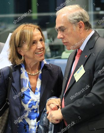 Italy's Minister of Labour Social Policies and Equal Opportunities Elsa Fornero (l) Chats with Secretary-general of the Organisation For Economic Co-operation and Development Oecd Mexican Angel Gurria (r) Duing a News Conference on the Side of 'Jobs For Europe' Conference in Brussels Belgium 06 September 2012 the Commission is Organising a Major Conference on Employment Policy in Order to Explore New Dimensions of Employment Policy Notably Regarding the Functioning of European Labour Markets Wage Developments Flexicurity in a Crisis Context and Inequalities Belgium Brussels