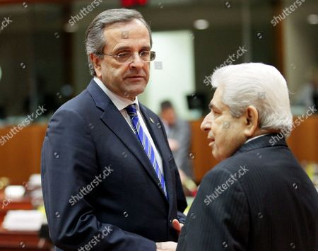Greek Prime Minister Antonis Samaras and President of Cyprus Dimitris Christofias (r) at the Start of a European Council Meeting at the European Council Headquarters in Brussels Belgium 13 December 2012 Eu Finance Ministers Agreed to a Framework For a Joint Eurozone Banking Supervisor Early on 13 December Reaching a Deal Over the Mechanism Aimed at Restoring Confidence in the Currency Bloc the Agreement was Reached by European Union Finance Ministers After Germany and France the Eurozone's Two Biggest Economies Reached a Compromise on the Details of the Mechanism a Two-day Eu Summit Starts on 13 December in Brussels Belgium Brussels