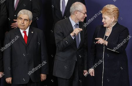 (l-r) Cypriot President Dimitris Christofias European Council President Herman Van Rompuy and Lithuanian President Dalia Grybauskaite Take Part in a Group Photo During a European Council Meeting at the European Council Headquarters in Brussels Belgium 13 December 2012 Eu Finance Ministers Agreed to a Framework For a Joint Eurozone Banking Supervisor Early on 13 December Reaching a Deal Over the Mechanism Aimed at Restoring Confidence in the Currency Bloc the Agreement was Reached by European Union Finance Ministers After Germany and France the Eurozone's Two Biggest Economies Reached a Compromise on the Details of the Mechanism a Two-day Eu Summit Starts on 13 December in Brussels Belgium Brussels