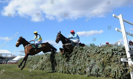 Oliver Greenall Riding Cool Friend (l) Clears the Last Fence Before Winning the John Smith's Fox Hunters Steeple Chase Race at Aintree Racecourse Liverpool Britain 04 April 2013 United Kingdom Liverpool