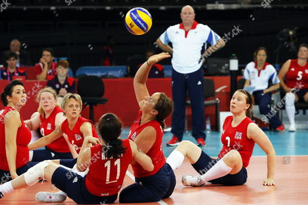 Martine Wright (c) of Britain in Action During the Women's Sitting Volleyball First Pool a Match Between Great Britain and Ukraine at the London 2012 Paralympic Games in London Britain 31 August 2012 Wright Lost Both of Her Legs in the Aldgate Underground Explosion in the July 7 London Bombings in 2005 Ukraine Won 3-0 United Kingdom London