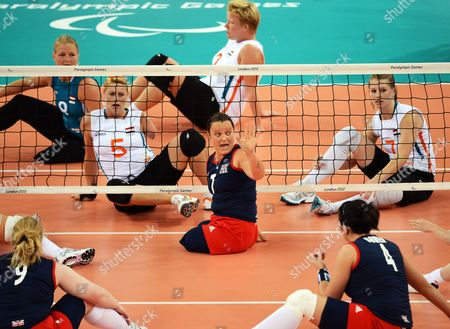 Britain's Martine Wright (c) Gives Instructions to Her Teammates During Their Women's Sitting Volleyball Preliminary Round Match Against the Netherlands in the Excel Arena During the London 2012 Paralympic Games in London Britain 01 September 2012 United Kingdom London