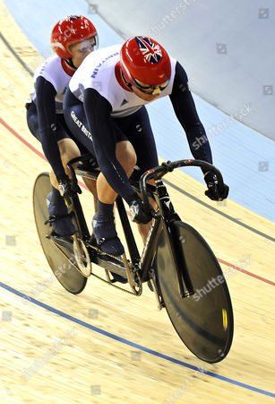 Britain's Barney Storey (r) and Neil Fachie (l) Are on Their Way to Win Their Men's Cycling Individual B Sprint Quarter Final Against Argentina During the London 2012 Paralympic Games in London Britain 02 September 2012 United Kingdom London
