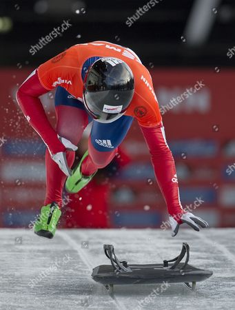 Kristan Bromley of Great Britain in Action During the First Run of the Men's Skeleton Competition at the 2012 Fibt World Cup Skeleton in Whistler Canada 24 November 2012 Canada Whistler