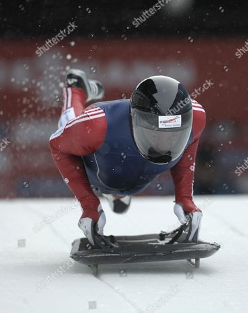 Kristan Bromley of Great Britain in Action During a Training Run of the MenÔs Skeleton Competition at the 2012 Fibt World Cup Skeleton in Whistler Canada 22 November 2012 Canada Whistler