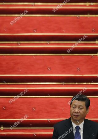 Chinese President Xi Jinping is Seen at the Election of the New Premier of China at the 12th National People's Congress (npc) in the Great Hall of the People in Beijing China 15 March 2013 China's Nominal State Parliament on 15 March Appointed Li Keqiang As the Nation's Premier to Succeed Wen Jiabao China Beijing