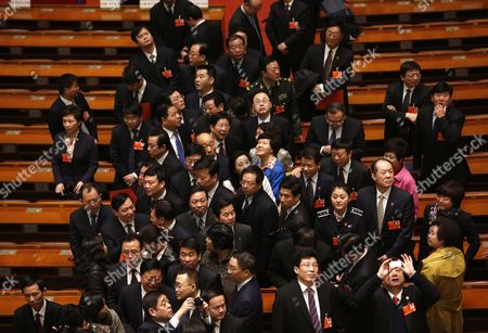 Delegates Leaving the Hall After the Election of the New Premier of China at the 12th National People's Congress (npc) in the Great Hall of the People in Beijing China 15 March 2013 China's Nominal State Parliament on 15 March Appointed Li Keqiang As the Nation's Premier to Succeed Wen Jiabao China Beijing