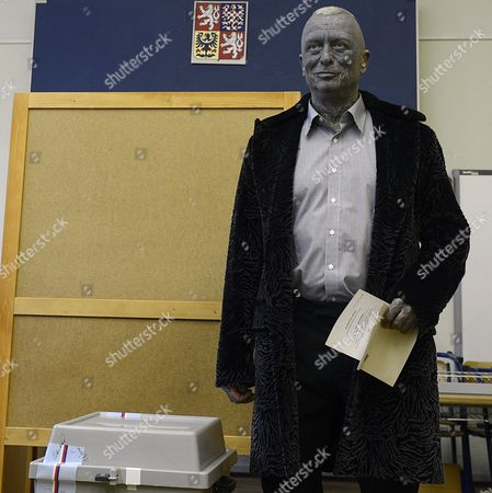 Czech Presidential Candidat and Artist and Composer Vladimir Franz is Seen Prior to Casting His Ballot at a Polling Station During the First Round of the Presidential Elections in Prague Czech Republic 11 January 2013 Polls Opened in the Czech Republic For Two Days of Voting For the Country's President in the Nation's First-ever Direct Elections For Head of State High Turnout Levels Were Expected Among the 8 4 Million Czechs Registered to Vote with a Neck-and-neck Race Expected Between Centre-right Candidate Jan Fischer and Centre-left Contender Milos Zeman Czech Republic Prague