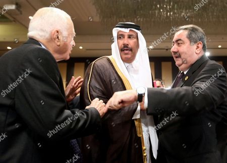 Qatari Prime Minister and Foreign Minister Sheikh Hamad Bin Jassim Bin Jabr Al-thani (c) and Iraqi Foreign Minister Hoshyar Zebari (r) Arab League Secretary General Nabil Al-arabi (l) Attend the Arab Foreign Ministers 139th Annual Meeting in Cairo Egypt 06 March 2013 the Meeting is Expected to Discuss Different Topics with Focus on Syria Crisis and the Palestinian Issue Egypt Cairo