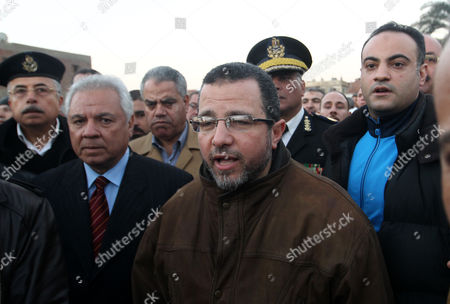 Egyptian Prime Minister Hisham Qandil Visits the Accident Site where a Train Transporting Soldiers Crashed in the Giza Neighbourhood of Badrashin About 40 Km West of Cairo Egypt 15 January 2013 the Crash Killed 17 People and Injured 105 the Head of the Ambulance Authority Told the Ontv Channel One Carriage Derailed and Hit a Freight Train According to Hussein Zakareya Chief of Egypts Railway Authority the Train was Returning to the Capital From Upper Egypt with More Than 1 300 Conscripts on Board Egypt Giza