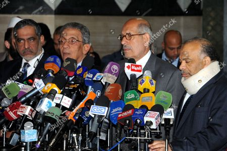 (l-r) Head of Islamist Al-wassat Party Abul Ela Madi Former Presidential Candidate Amr Moussa Nobel Peace Prize Laureate and Head of Addostour Party Mohammed El-baradei and Leader of the Muslim Brotherhoods Freedom and Justice Party (fjp) Saad Al-katatni Are Seen During a Press Conference at Al-azhar Institution in Cairo Egypt 31 January 2013 According to Media Sources Head of the Al-azhar Sunni Muslim Institution Ahmed Al-tayeb Called on the Country's Rival Politicians to Promote Dialogue After Violence Left More Than 50 People Dead Al Tayeb Unveiled a Roadmap to Defuse a Deepening Crisis Between Islamists Including President Mohamed Morsi's Muslim Brotherhood Group and the Opposition Egypt Cairo