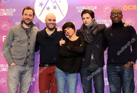 (l-r) French Actors Fred Testot Jerome Commandeur Florence Foresti Raphael Personnaz and Lucien Jean-baptiste Attend the Opening Ceremony of the 16th Annual International Comedy Film Festival in L'alpe D'huez France 16 January 2013 France Alpe D'huez