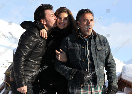 (l-r) French Actors Michael Youn Isabelle Funaro and Jose Garcia Pose During a Photocall For the Movie 'Vive La France' at the 16th Annual International Comedy Film Festival in L'alpe D'huez France 17 January 2013 the Movie is Presented out of Competition at the Festival That Runs From 16 to 20 January France Alpe D'huez