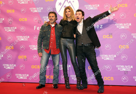 (l-r) French Actors Jose Garcia Isabelle Funaro and Michael Youn Attend the Photocall For Their Movie 'Vive La France' at the 16th Annual International Comedy Film Festival in L'alpe D'huez France 16 January 2013 the Festival Runs From 16 to 20 January France Alpe D'huez