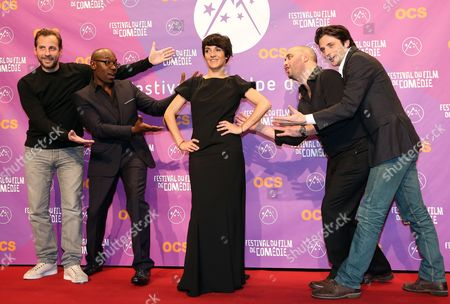 (l-r) French Actors Fred Testot Lucien Jean-baptiste Florence Foresti Jerome Commandeur and Raphael Personnaz Attend the Opening Ceremony of the 16th Annual International Comedy Film Festival in L'alpe D'huez France 16 January 2013 France Alpe D'huez