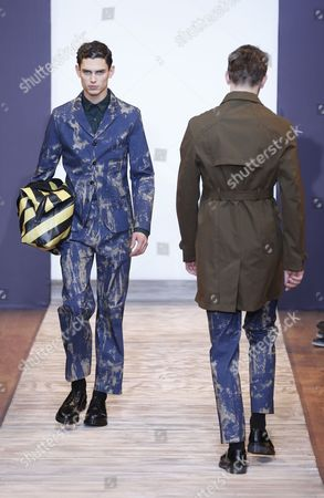 Models Present Creations From the Fall-winter 2013/14 Men's Collection by French Designer Sacha Walckhoff For Christian Lacroix Fashion House During the Paris Fashion Week in Paris France 16 January 2013 the Presentation of the Men's Collections in Paris Runs From 16 to 20 January France Paris