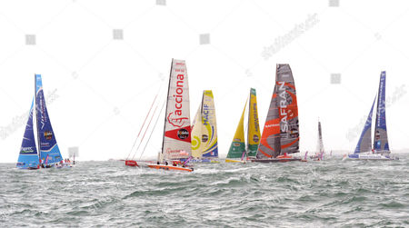Stock Picture of The Monohull 'Virbac Paprec 3' First From Left of French Jean-pierre Dick Sails Next to Monohull Drom Left 'Acciona 100 % Ecopowered' of Spanish Javier Sanso' 'Macif' of French Francois Gabart 'Bureau Vallee' of French Louis Burton 'Safran' of French Marc Guillemot and 'Banque Populaire' of French Armel Le Cleac'h During the Start of the Seventh Vendee Globe Single-handed Round-the-world Sailing Race at the Western French Harbor of Les Sables D'olonne France 10 November 2012 France Les Sables D' Olonne