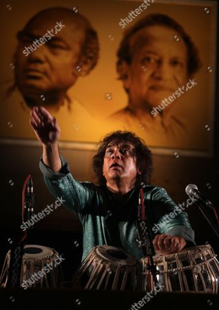 Indian Tabla Maestro Musical Producer Film Actor and Composer Ustad Zakir Hussain Performs During Swara Samrat Festival Late Evening in Eastern Indian City of Calcutta 06 January 2013 the Festival Runs From 05 to 06 January India Calcutta